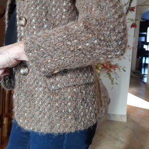 Tweed Wool Blend Blazer Jacket